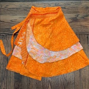 Dresses & Skirts - Orange boho wrap skirt